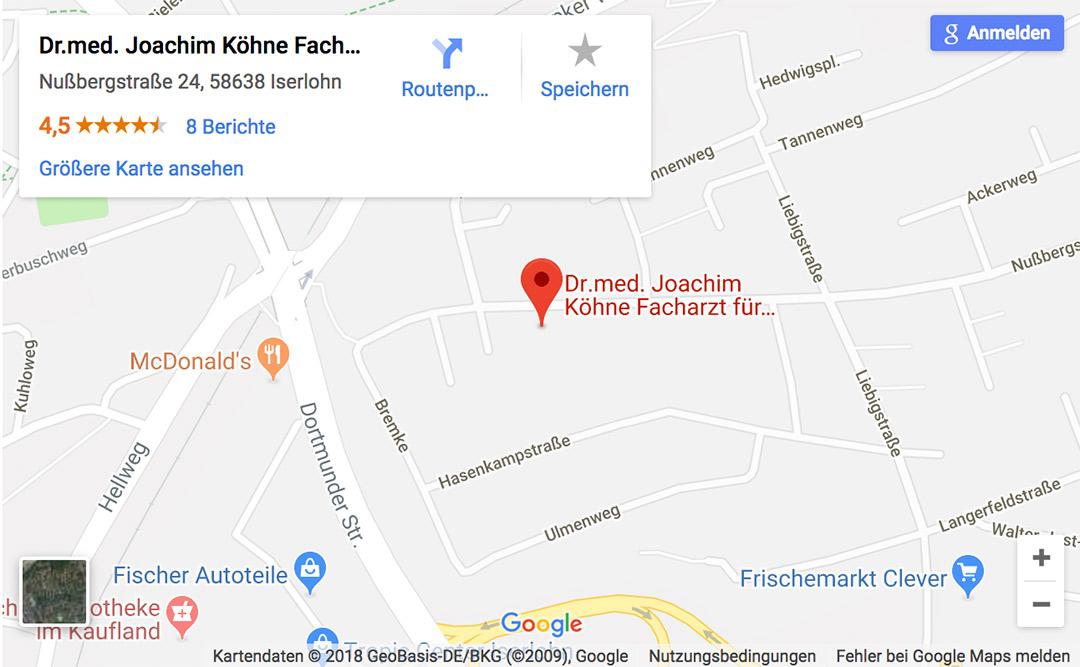 Karte Hausarzt Praxis Köhne Höddinghaus Iserlohn